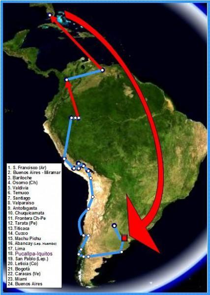 Мапа подорожі Гевари і Гранадо Латинською Америкою